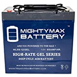 12v deep cycle battery pack - 12 Volt 55 AH GEL Battery - Mighty Max Battery brand product