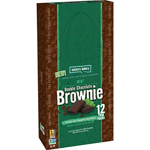 Nature's Bakery Whole Wheat Brownie: Mint Double Chocolate, Box of 12