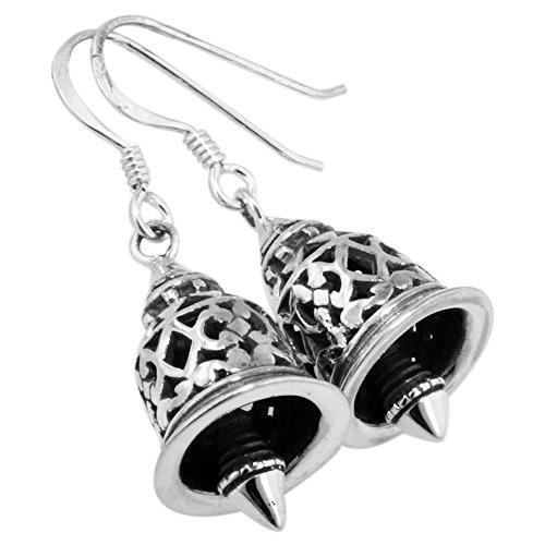 - Sterling Silver Filigree Bell Dangle Earrings