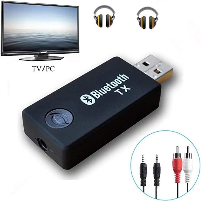 Bluetooth transmisor, yetor 3,5 mm estéreo portátil inalámbrico de audio Bluetooth Transmisor para televisor, ipod, mp3/mp4, usb Fuente de alimentación (tx9 -2018): Amazon.es: Informática