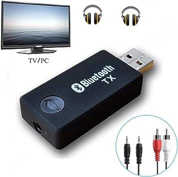 YETOR Bluetooth transmisor, 3,5 mm estéreo portátil inalámbrico de Audio Bluetooth Transmisor para televisor, iPod, mp3/mp4, USB Fuente de alimentación (tx9-2018): Amazon.es: Informática