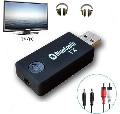LuTuo Transmisor Bluetooth para TV, Conexión Dual Adaptador Inalámbrico de Audio para Auriculares, Baja Latencia, Alta Fidelidad Estére, soporta 3.5mm, RCA, USB Audio de PC (TX-9): Amazon.es: Electrónica