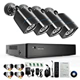 YIMODO 8CH Security Camera System 1080H DVR with 4x 2000TVL Superior Night Vision IR Cut Leds indoor/outdoor CCTV Camera(Without Hard Drive)