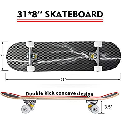 Classic Concave Skateboard Lightning Bolt Isolated on Dark Checkered Background Transparent Longboard Maple Deck Extreme Sports and Outdoors Double Kick Trick for Beginners and Professionals : Sports & Outdoors