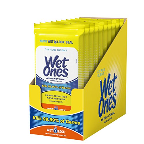 Wet Ones Citrus Antibacterial Hand Wipes, 20 Count (Pack Of 10) ()