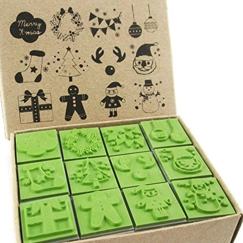 Np Crafts 12 Kids New Year Christmas Santa Claus Rubber Stamps Set