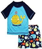 iXtreme Baby Boys Cute Whale Short Sleeve Rashguard Top Board Swim Trunk Set, Navy, 18 Months