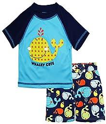 iXtreme Baby Boys Cute Whale Short Sleeve Rashguard Top Board Swim Trunk Set, Navy, 24 Months