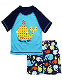 iXtreme Little Boys Cute Whale Short Sleeve Rashguard Board Swim Trunk Set, Navy, 3T