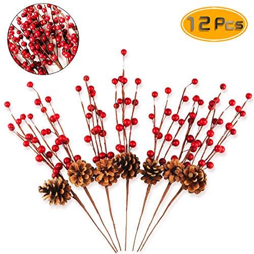 BeautyMood 12 pcs Simulation Berry Branch Red Bubble Berry and Pine Cone Set Christmas Decoration Flower Arrangement - 16 Inch. (Decorations Flower Christmas Arrangements)