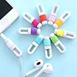 Brain Freezer Silicone Earphone Cable Protector & Wire Organizer for Android/iOS Devices (Set of 10)(Multicolor)