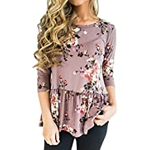 Uncinba Women 3/4 Sleeve Floral Print Tunic Tops Scoop Neck Patchwork Swing Loose Blouse