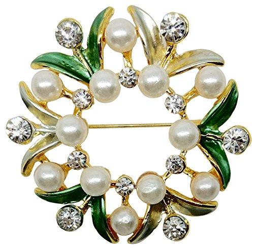 Bijoux De Ja BDJ Gold Tone Hand Painted Enamel Rhinestone Faux Pearl Wreath Brooch Pin (Green)
