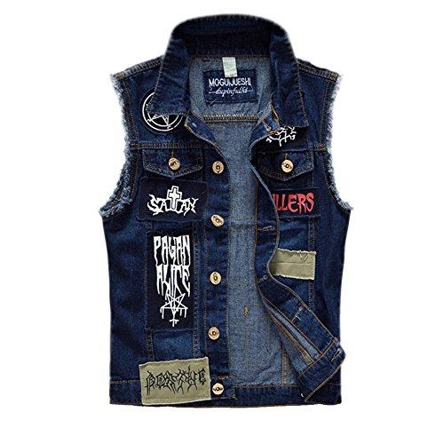 Casual Gilet Top Veste Gilet Tops Robe Maigre GAOLIXIA Mens Survêtement Mode patch Slim Blazer Dessiné Motif Denim blue Fit anwdt0qxgf