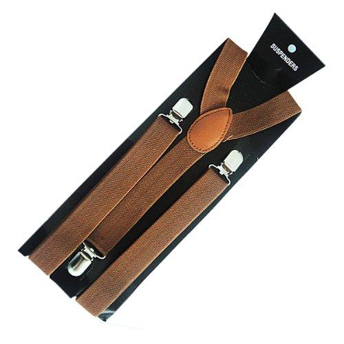 """Price comparison product image Men's Unisex Clip-on Braces Elastic """"Brown"""" Suspender Y-shape Ajustable"""