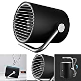 Small Personal USB Fan Portable Mini Office Table Desk Cooling Fan with Twin Turbo Blades Whisper Quiet Cyclone Air Circulator for Travel Home Nightstand Bedroom (Black)