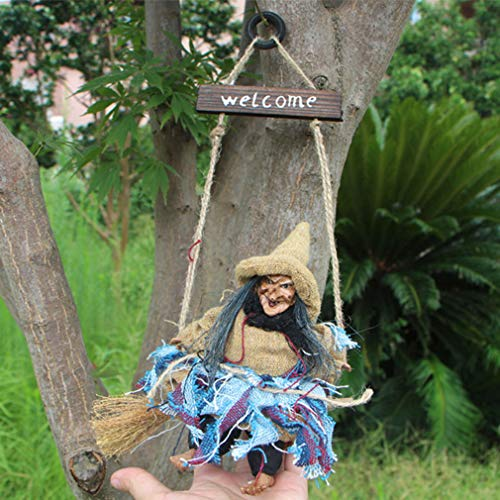 Weiy Vintage Witch Broom Hanger Hemp Rope Witch Halloween Hanging Decoration for Home Party Decor,Blue