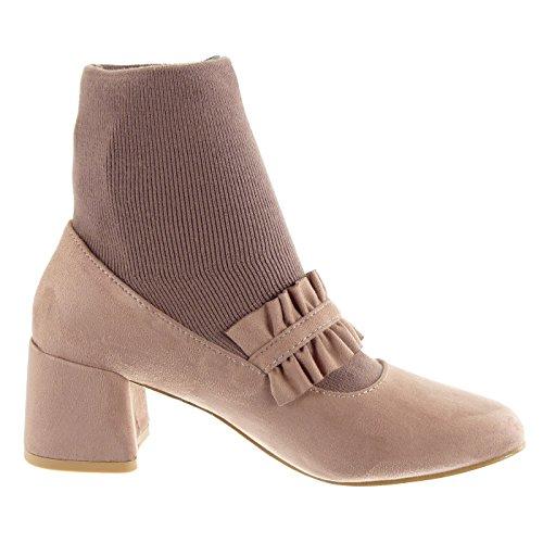 intrecciato Rosa scarpe elegante blocco Scarpe Angkorly CM Stivaletti donna Scarponcini fibbia materiale Tacco Moda a 6 alto decollete bi UpRqHCc