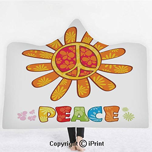 """- Groovy Decorations 3D Print Soft Hooded Blanket Boys Girls Premium Throw Blanket,Peace with Original Nature Flower Design No War More Empathy for the Earth Moral Theme,Lightweight Microfiber(Kids 50""""x"""
