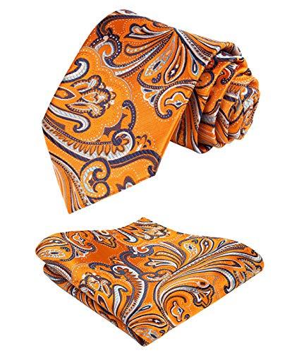 HISDERN Paisley Tie Handkerchief Woven Classic Men's Necktie & Pocket Square Set (Orange)