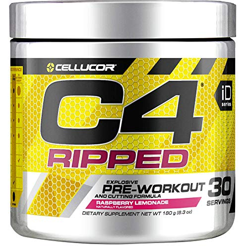 Cellucor C4 Ripped Pre Workout Powder, Thermogenic Fat Burner & Metabolism Booster for Men & Women with Green Coffee Bean Extract, Raspberry Lemonade, 30 Servings