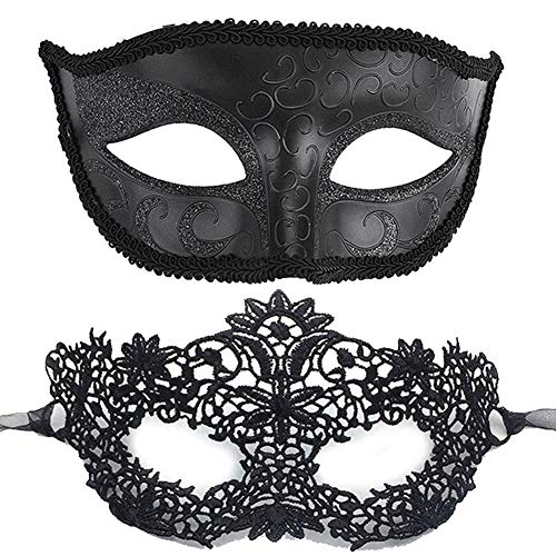7Queen Masks Masquerade Ball Couples Sexy Half Face Men Women Black Halloween Ana Mask for Adults Female Large Boys -