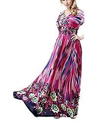 Greenis Women Summer Dress Chiffon Maxi Floral Long Plus Elastic Waist