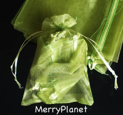100 Olive Green Organza Wedding Favour Bags Jewellery Pouches 9cm x 12cm joydiy