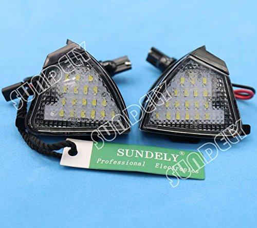 SUNDELY 2 X Error Free 18-SMD LED Under Outside Mirror Puddle Courtesy Light Lamp for Volkswagen VW Passat Sharan Touran Jetta Golf 5 Eos