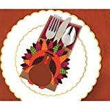 Amscan Thanksgiving Turkey Cutlery Holder Deluxe Multi-Pack Paper - 12 Pack