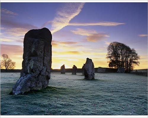 Photographic Print of Prehistoric stone circle in frost, Avebury, UNESCO World Heritage Site - Avebury Stone Circle