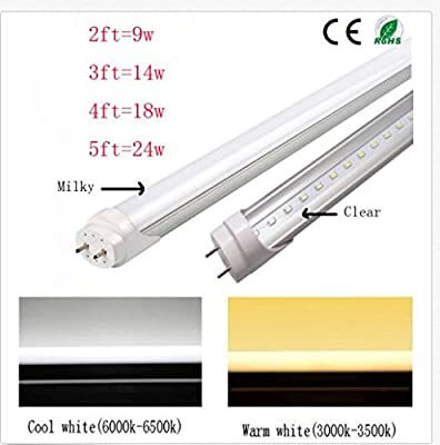 CIDASXL 25Pack T8 LED Tube, 2 feet, 24 inches, 9W, 48pcs LED, 6000 k Cold white, 1500 lumens, 50,000 hours! Warranty 3 years, milky white cover, UL, DLC plug, double-sided connection(25Pack)