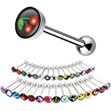 BodyJ4You 30PCS Tongue Ring Logo Barbell 14 Gauge Body Piercing Jewelry Lot