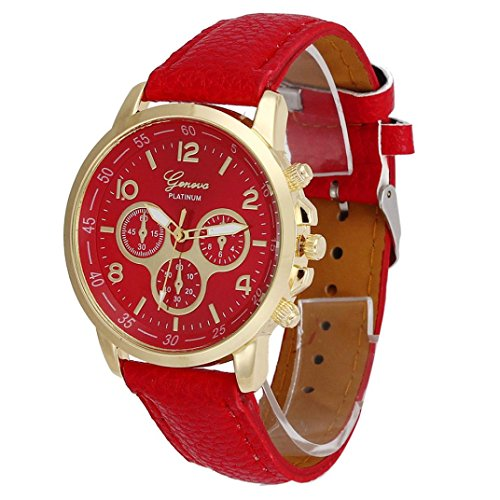 Clearance Watch Daoroka Fashion Unisex Casual Geneva Faux Leather Quartz Analog Wrist Watch Jewelry Gift (Red)