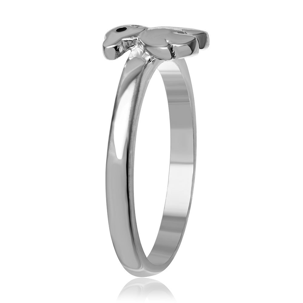 Buy For Less Rhodium Plated Sterling Silver Plain Teddy Bear Ring