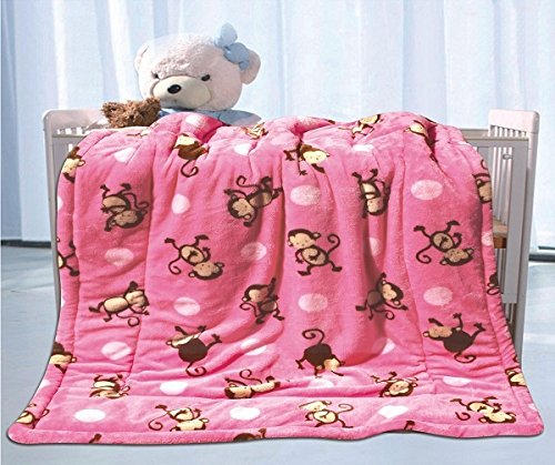 Fancy Linen Faux Fur Flannel Borrego Soft Baby Throw Blanket with Sherpa Backing Warm and Cozy Stroller or Toddler Bed Blanket