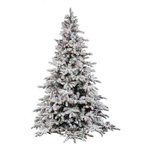 Vickerman 75' Flocked Utica Artificial Christmas Tree with 700 Multi LED -