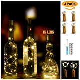 Wine Bottle Lights with Cork, LED Cork Lights for Bottle 4 Pack, Copper Wire Bottle Lights for DIY Party, Valenines, Decor, Halloween (Warm White)