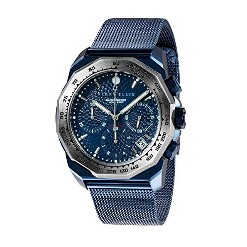 Perry Ellis Mens Watch Unisex Decagon GT 44mm Chronograph Analog Quartz Watch with Stainless Steel Band Waterproof Gift Watch Anniversary Gifts for Men Fashion Luxury Casual Business Watch 09011-04 (Stainless Steel Tiger Chronograph)