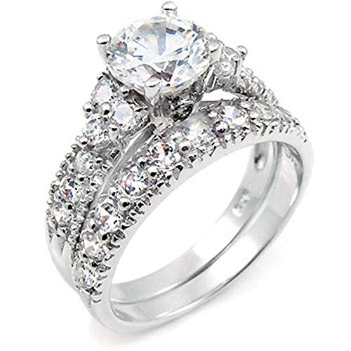 - Sterling Silver Cubic Zirconia CZ Wedding Engagement Ring Set Sz 9