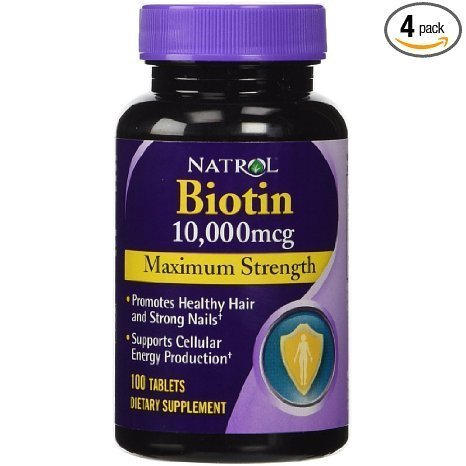 Natrol Biotin, Maximum Strength, 10,000 mcg Tablets 100 ea (Pack of 6) by Natrol