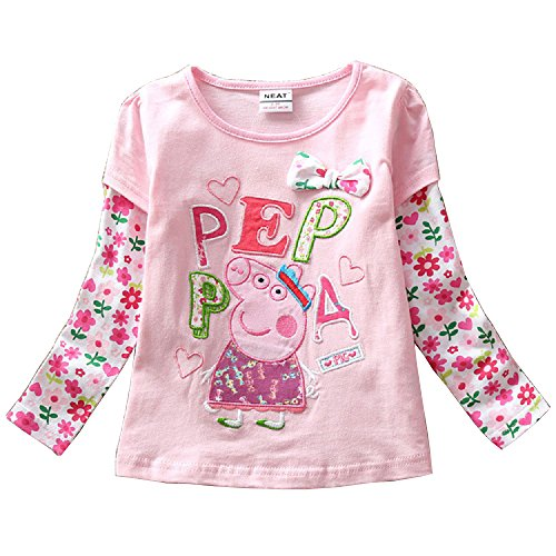 Baby Girls' Long Sleeve Cartoon Peppa Pig Flower Top T-shirt Tee - Delivery Prices Same Usps Day