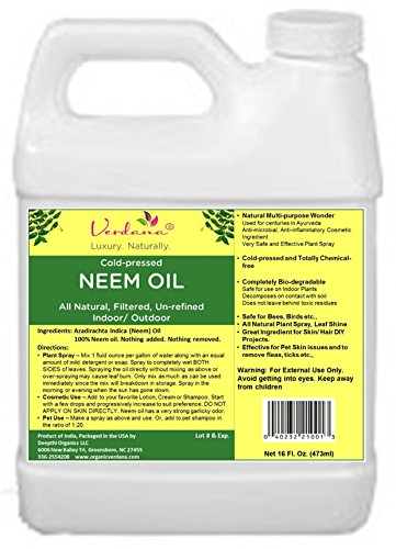 Organic Verdana Cold Pressed Neem Oil - 16 Fluid Ounce – Un-refined,...