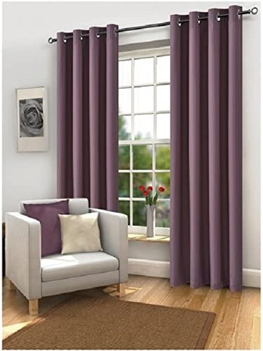 "Plum Dakota Eyelet Curtains 90/"" x 90/"""