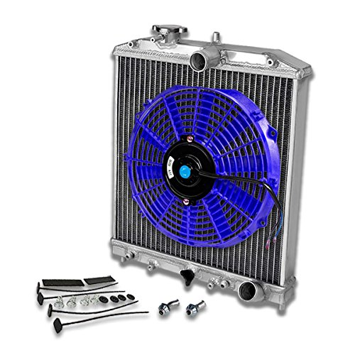 - For Civic/Del Sol/Integra 2-Row Dual Core 42mm Racing Radiator+12 inches Blue Fan+Mounting Kit