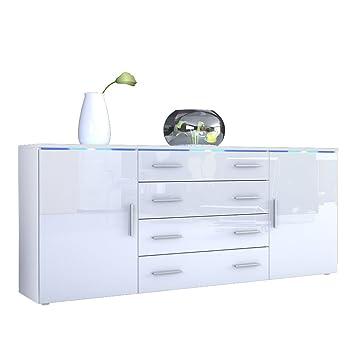 Sideboard weiß hochglanz billig  Sideboard Kommode Faro V2, Korpus in Weiß matt / Front in Weiß ...