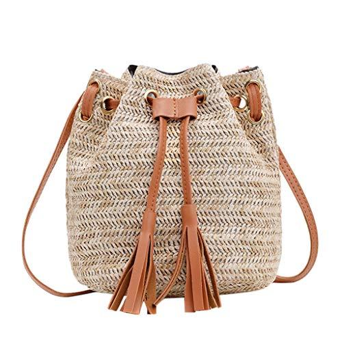 FGDJEE Rattan Bag Straw Bag Boho Bag Straw Handbags For Women Straw ()