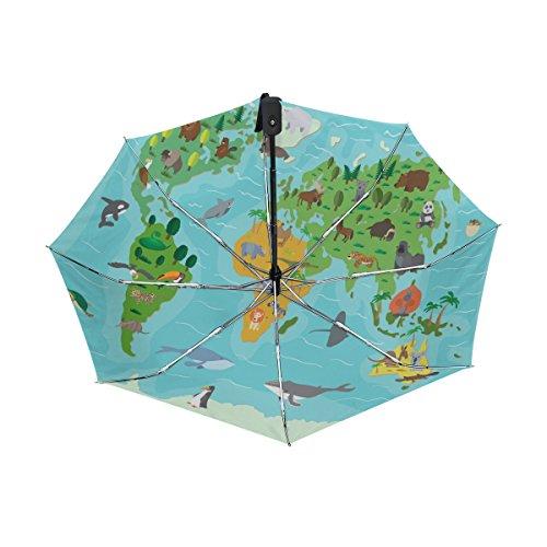 World Map With Animals UPF 50+ Anti-UV Parasol Waterproof Windproof Reverse 3 Folds Auto Open Close Lightweight (Bubble Wrap Jellyfish Costume)