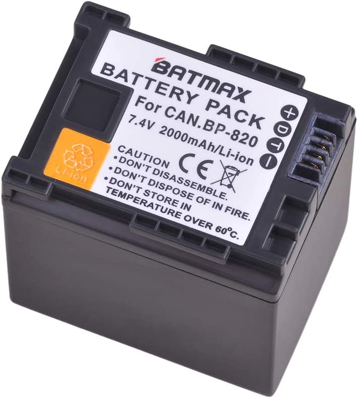 Batmax 1Pc 2000mAh BP-820 Battery for Canon VIXIA GX10, HFG20, HF G21, HFG30, HFG40, HFM30, HFM31, HFM32, HFM300, HFM301, HFM41, HFM400, HFS200, XA10, XA11, XA15, XA20, XA25, XF400, XF405