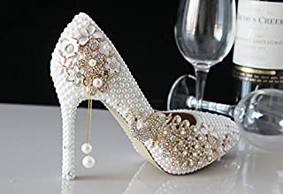 VIVIOO Prom Sandals Shoes Wedding White Pearls New Crystal Wedding Shoes Bride Shoes Handmade Diamond Crystal Bird Metal Tassel Pointed Heels,14Cm Heel,9